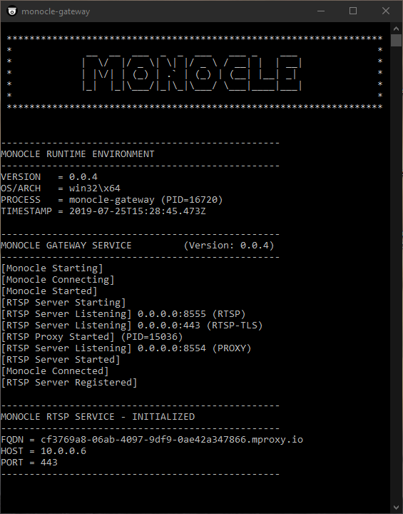 Monocle Gateway throws Proxy error at startup on Win2012R2